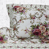 Megenta Floral Over White Spread - 6 Pieces Bed Spread Set - waseeh.com