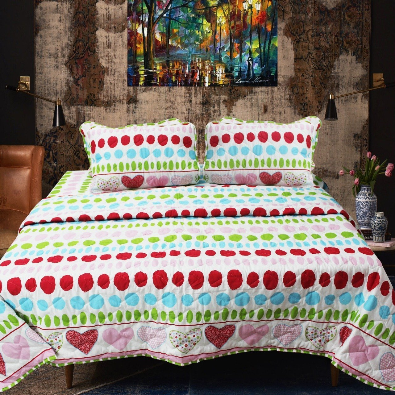 Polka - Export Quality Bed Spread Set - 6 pc - waseeh.com
