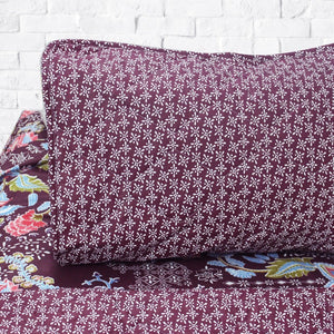 Maroon Patz - Cotton Bed Spread Set - 6 pc - waseeh.com