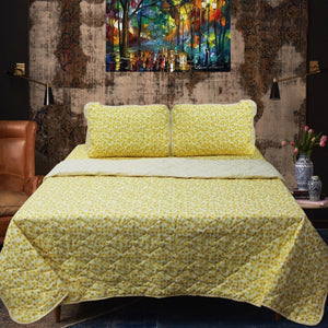Yellow Autumn - Cotton Bed Spread Set - 6 pc - waseeh.com