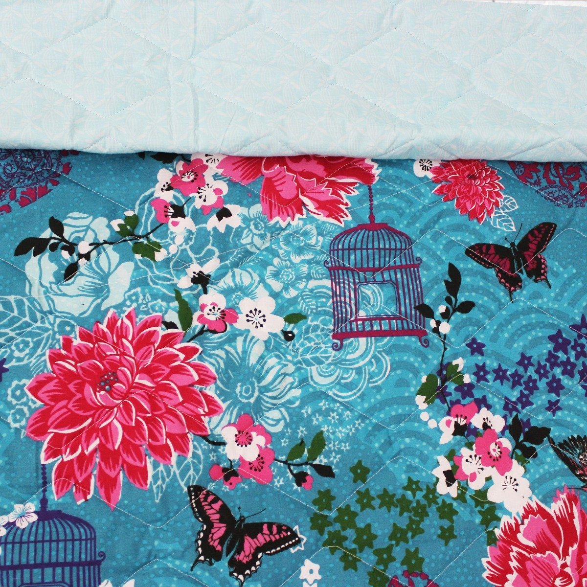 Blue Flowers - Export Quality Bed Spread Set - 6 pc - waseeh.com