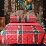 Export Quality Cotton Bed Spread Set - 4 pcs - Red Rad - waseeh.com