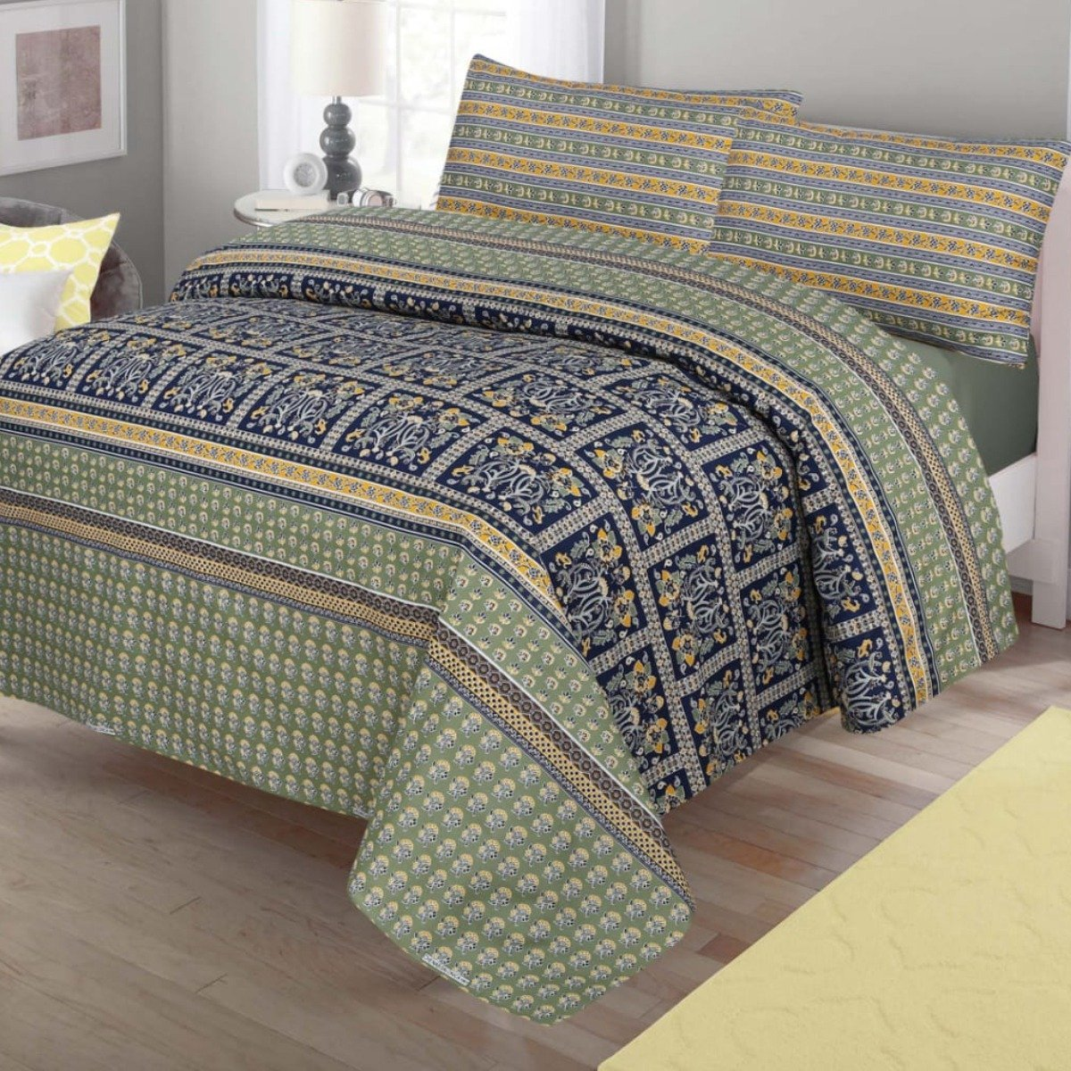 Cotton Double Bed Sheet With 2 Pillow cases - waseeh.com