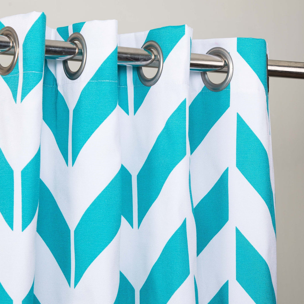 Zig Zag Designed Curtain With Lining - Single Panel - 44