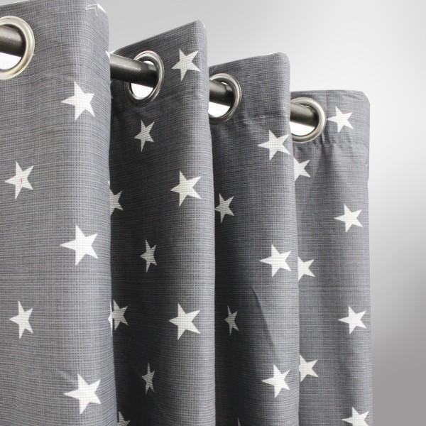 Gray with White Stars - Curtain With Lining- Single Panel - 50