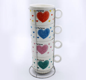 Heart Cup Tower - 4 Pcs - waseeh.com