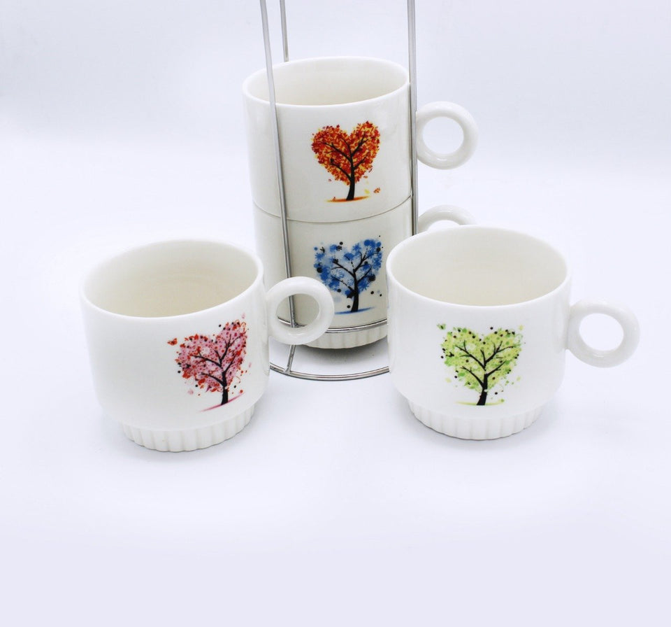 Heart tree Cup Tower - 4 Pcs - waseeh.com