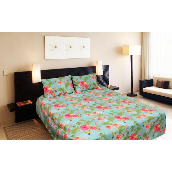 Export Cotton Double Bed Sheet With 2 Pillow cases - waseeh.com
