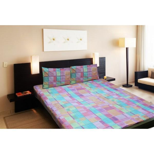 Rich Cotton Double Bed Sheet With 2 Pillow cases - Ecn029 - waseeh.com