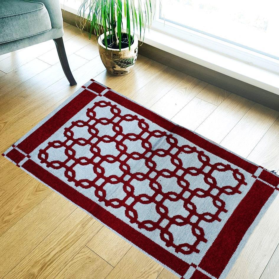 Rounded Square - Hand-woven Woolen Rug - Double Seam - 2' x 3' - waseeh.com