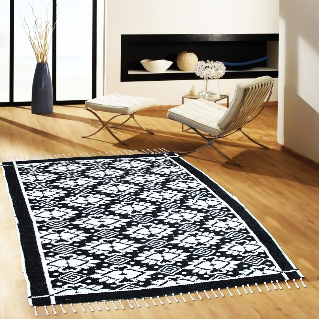 Floral - Hand-woven Woolen Rug - Double Seam - 4' x 6' - waseeh.com