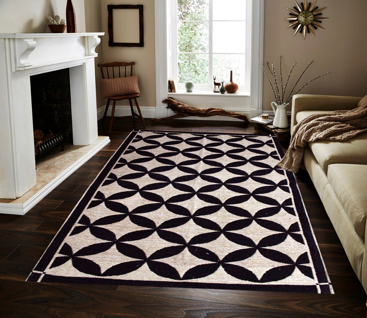 Geometric Floral - Hand-woven Woolen Rug - Double Seam - 4' x 6' - waseeh.com
