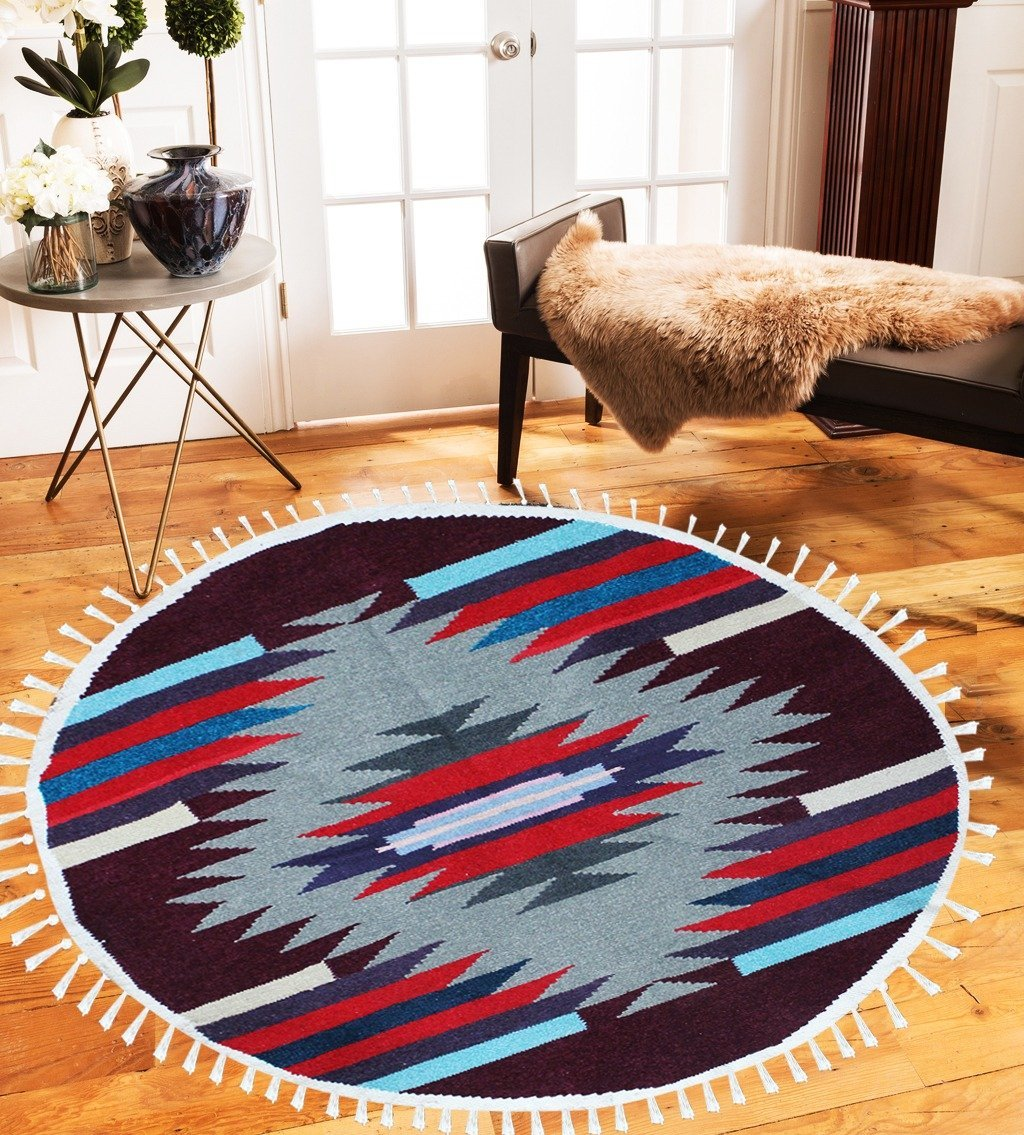 Round Geometric - Hand-woven Woolen Rug - Round Large - 4' x 4' - waseeh.com