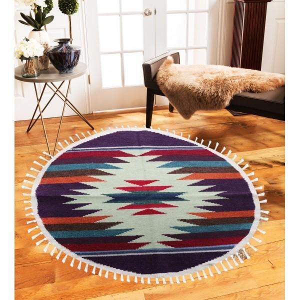 Hand-woven Woolen Rug - Round Small -fm-gkrrs11 - waseeh.com
