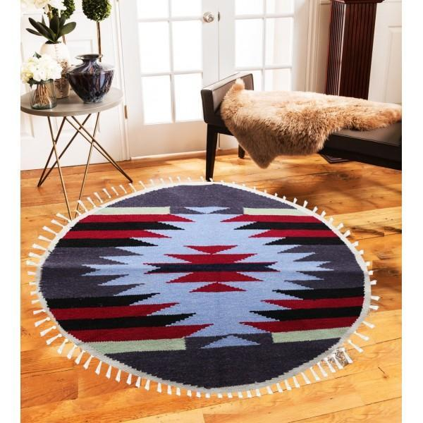 Hand-woven Woolen Rug - Round Small -fm-gkrrs13 - waseeh.com