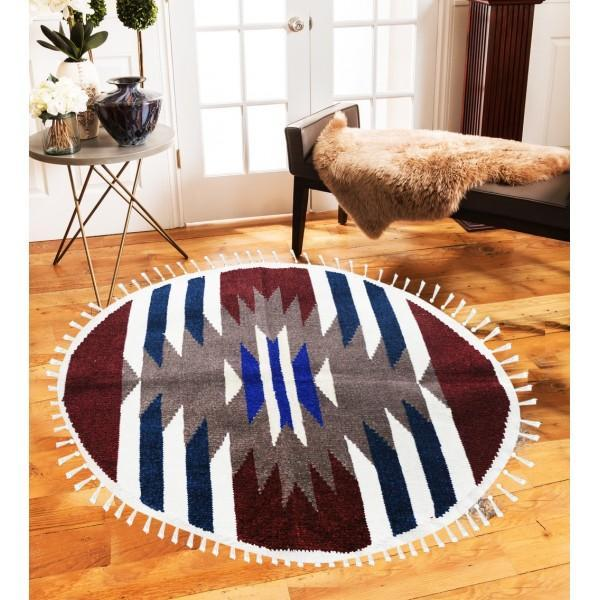 Hand-woven Woolen Rug - Round Small -fm-gkrrs5 - waseeh.com