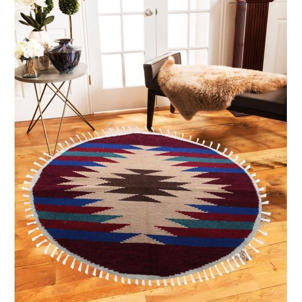 Hand-woven Woolen Rug - Round Small -fm-gkrrs9 - waseeh.com