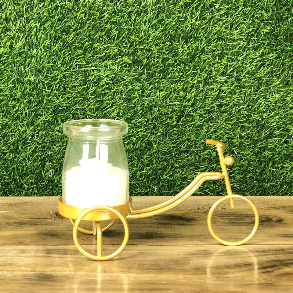 Cycle Metal Golden Candle Stand with Glass Pot & Candle - waseeh.com