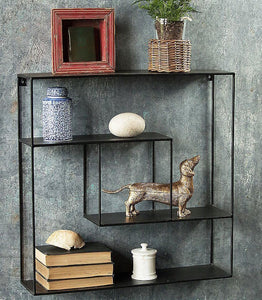 "Solid Steel Square Wall Rack with iron shelves 24"" x 24"" - waseeh.com"