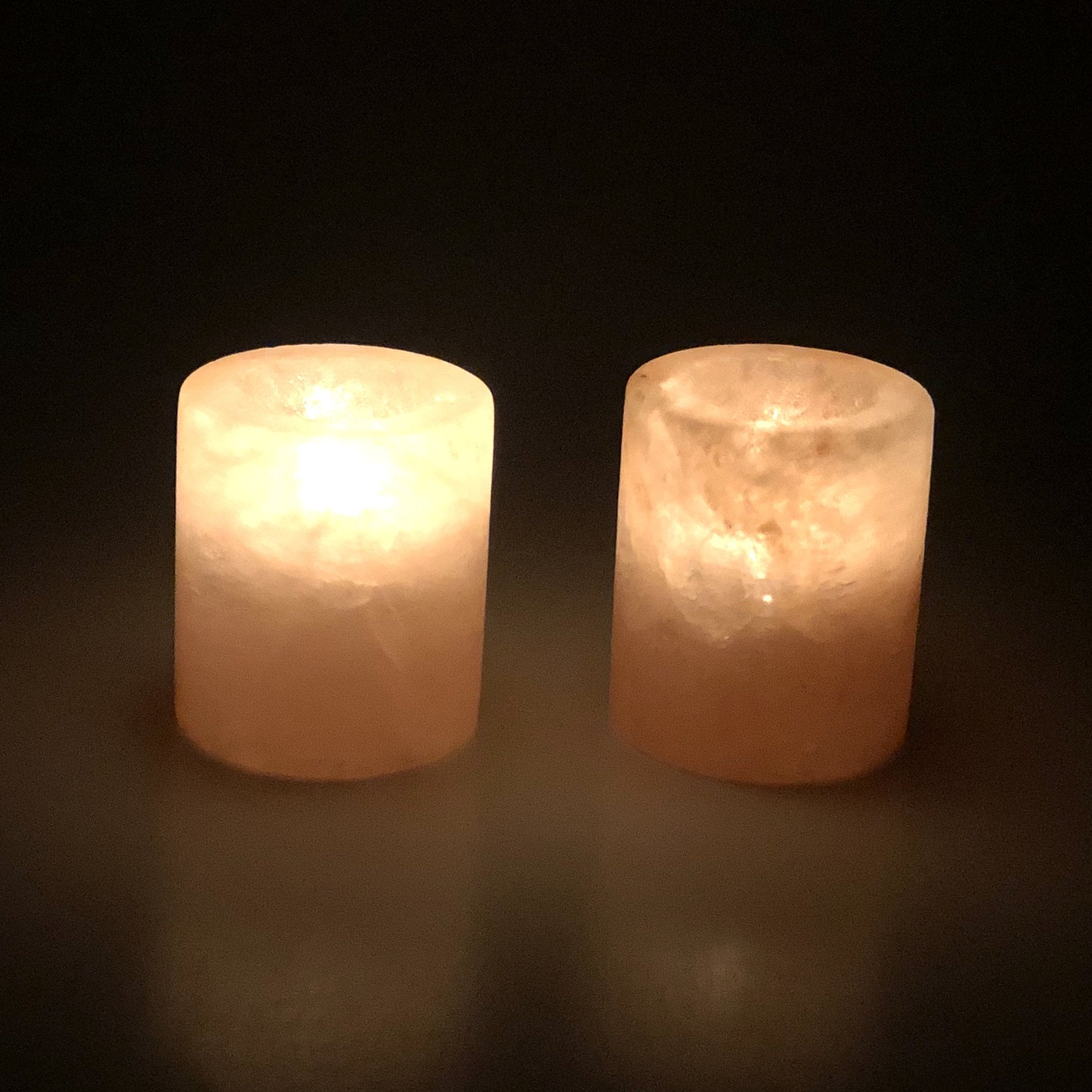 Himalayan Natural Pink Salt Candle Holder - Cylinder Shape - waseeh.com