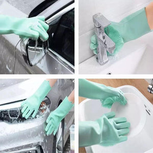 Multi-Purpose Sponge Silicone Cleaning Scrub Gloves (1 Pair)