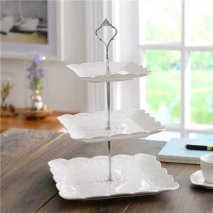 Multi-layer English Tray Ceramic Fruit Plate Square Snack Dish Cake Tray White Embossed Candy Tray Shelf - waseeh.com