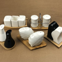 Imperial Ceramic Salt and Pepper Set With Bamboo Base - waseeh.com