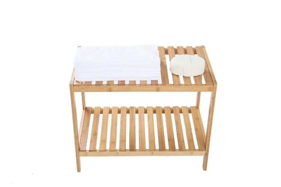 2-Tiered Multi-purpose 100% Natural Bamboo Rack by Realjia - waseeh.com