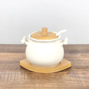 Sugar Pot Set With Wooden Lid - waseeh.com