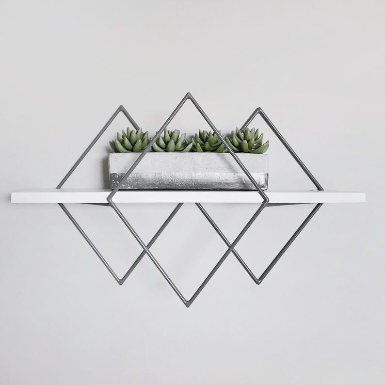 Geometric Diamond Wall Mounted 1-Tier Metal Wood Art Floating Shelves - waseeh.com