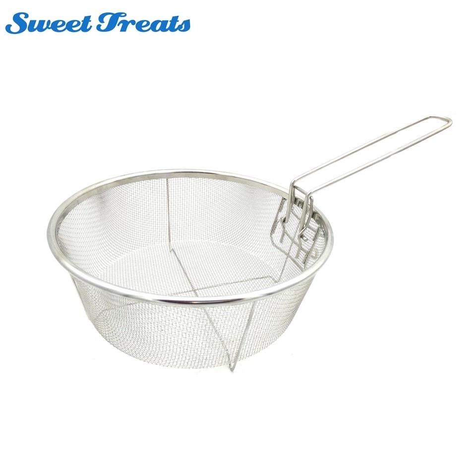 Sweettreats Fry Baskets Stainless Steel Fryer Basket Strainer Serving Food Presentation Cooking Tool French Fries Basket - waseeh.com