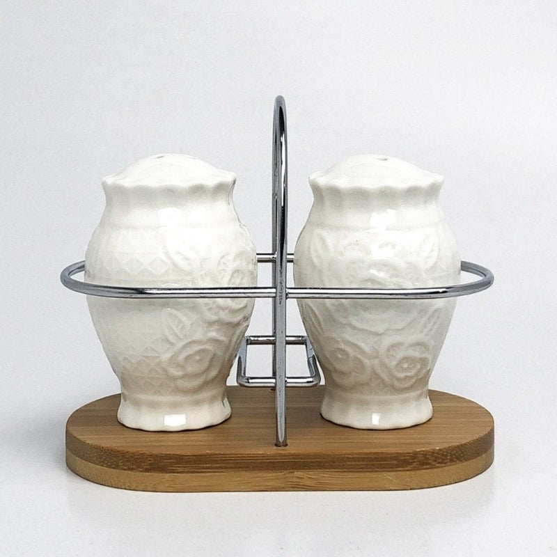 Imperial Ceramic Salt and Pepper Shaker With Bamboo Base - waseeh.com