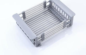 Rack Drain Basket Stainless Steel Telescopic Sink Dish Drainers for Kitchen Drain Shelf Installation Holder Dish Drying Rack - waseeh.com