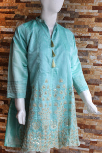 Embroided Spring Cotton - Aqua - Yellow - Ladies - waseeh.com