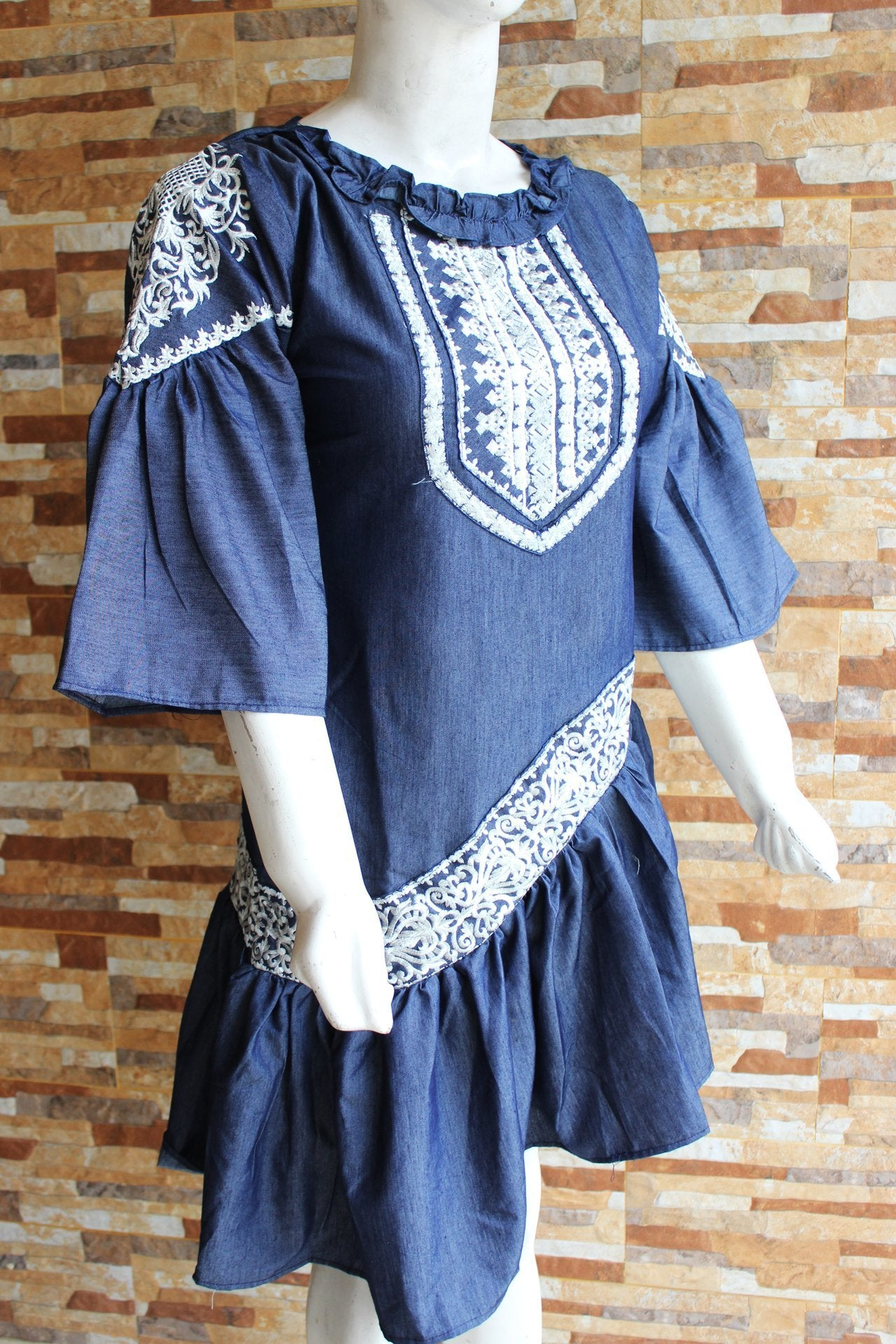Embroided Cotton - Denium Blue - Ladies - waseeh.com