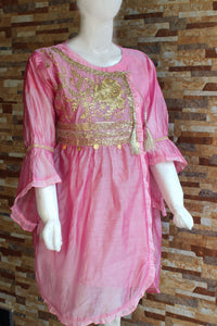 Embroided Cotton - Peach - Pink - Ladies - waseeh.com