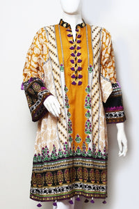 Beautiful Orange, With Beige & Brown - Lawn Fabric - Ladies - waseeh.com