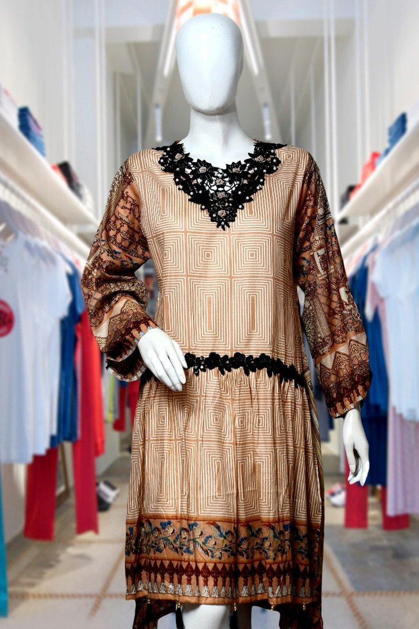 Coffee - Square - Lawn Fabric -  Ladies - waseeh.com