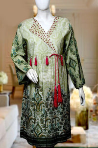 Embroided Green - Lawn Fabric - Ladies - waseeh.com