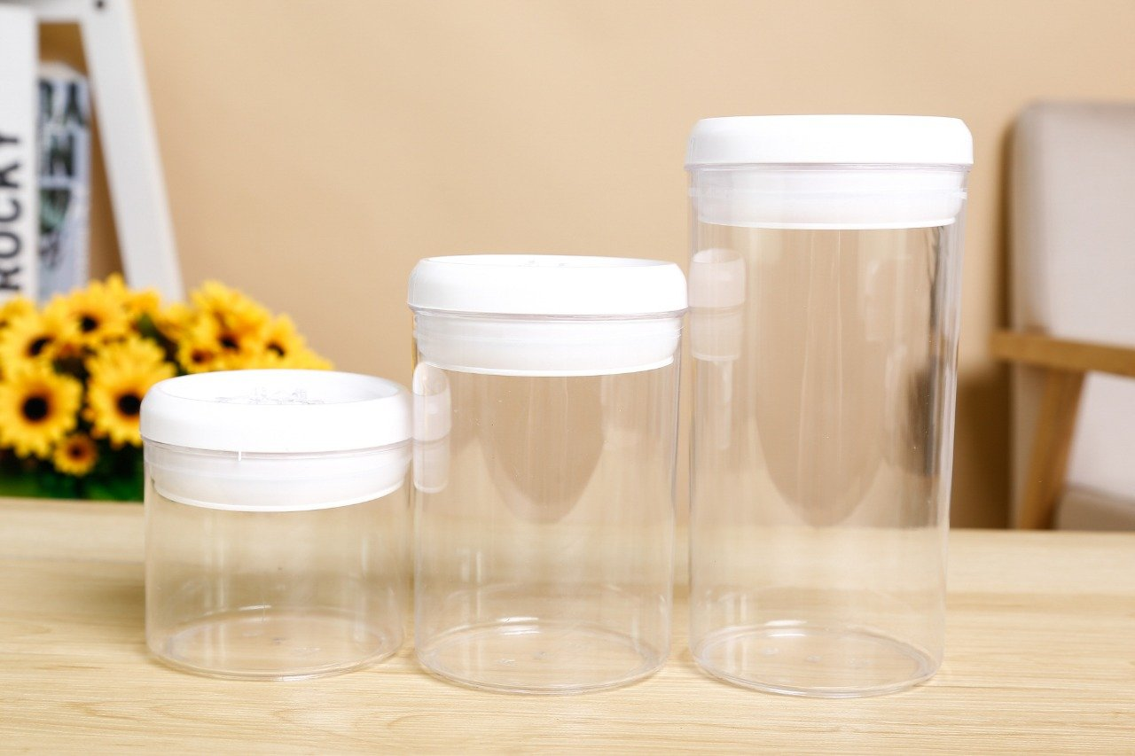 Acrylic Glass Jars with Lid - BPA Free - Pack of 3 - waseeh.com