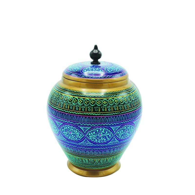 Wooden Candy Jar in Nakshi Art 8'' - waseeh.com