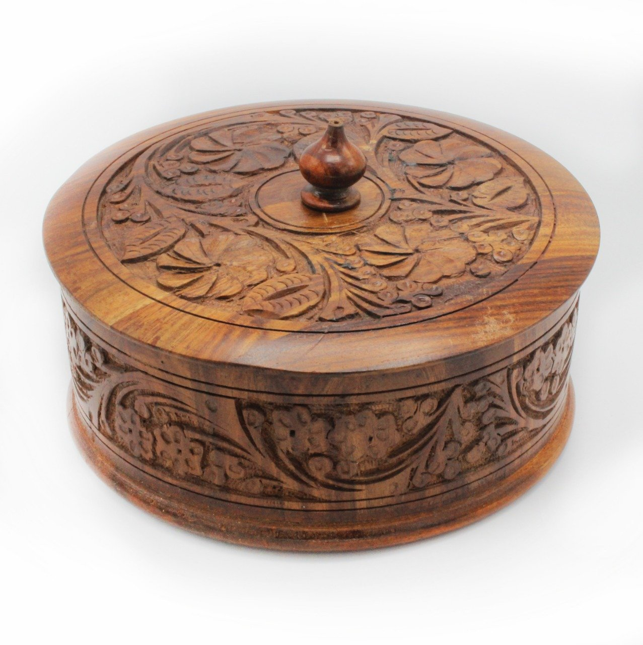 "Carved Wooden Hot Pot - 8"" - waseeh.com"