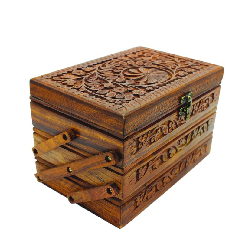 "Wooden Hand Made Jewellery Box - Tri-Stepped - Carved - 6"" x 8.5"" - waseeh.com"