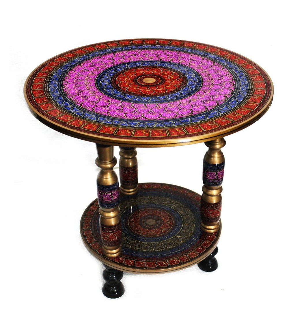 Wooden Table in Nakshi Art Top 24''- Red - waseeh.com