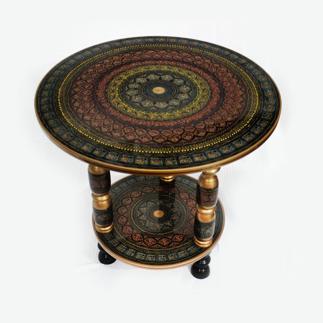 Double Wooden Table in Nakshi Art Top 24''- Black Gold - waseeh.com