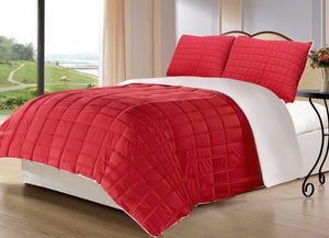 Quilted Bed Sheet - Red Chequered - waseeh.com