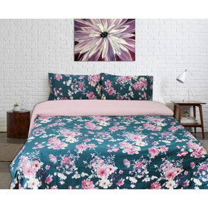 Export Quality Quilt Cover Set - 4 pcs - Green Floral - waseeh.com