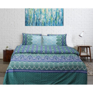 Quilt Cover Set - 6 pcs - Blue Green Floral - waseeh.com