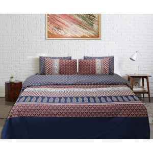 Quilt Cover Set - 6 pcs - Red Blue Geometric - waseeh.com