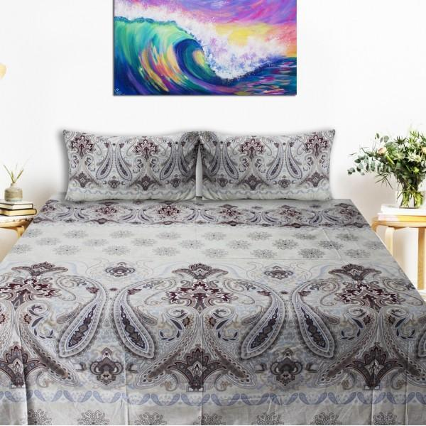 Export Quality Bed Sheet - White Arabesque - waseeh.com